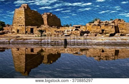 Ruins Of Temple Made By The Ancient Egyptians Reflected In A Pool At The Karnak Temple, Near Luxor.