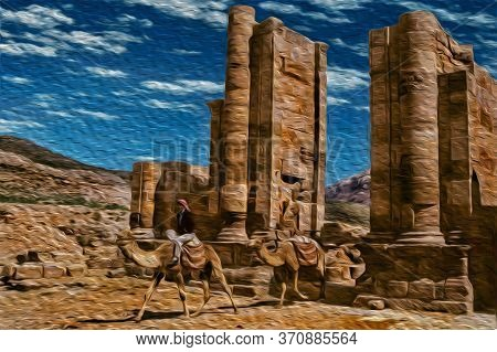 Bedouin Riding Dromedary Through A Temple In The Ancient Archeological Site Of Petra. An Amazing His