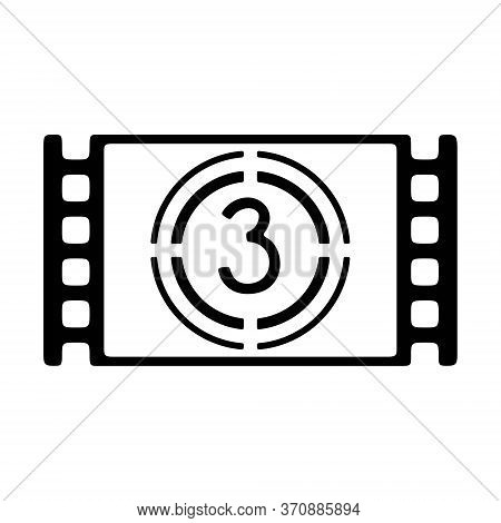 Cinema Movie Countdown Icon In Line Style. Filmstrip With Countdown Sign.