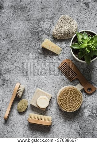Body Care Health Concept With Copy Space. Natural Brushes, Homemade Soap, Pumice Stone, Succulent Fl