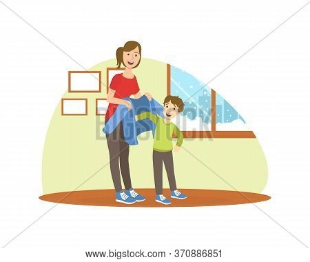 Mother Helping Her Son To Get Dressed, Loving Mom And Her Child In Everyday Life At Home Vector Illu