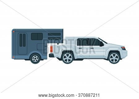 Travel Trailer And Car Crossover, Mobile Home For Trip, Summer Tourism And Vacation Flat Vector Illu