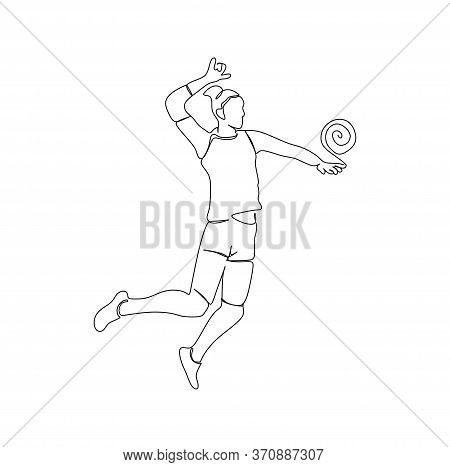 A Young Woman Volleyball Player Jump To Hit The Ball
