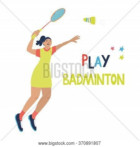 Singles Badminton Game. Woman Swinging Her Racket Trying To Beat Off A Shuttlecock. Vector Illustrat