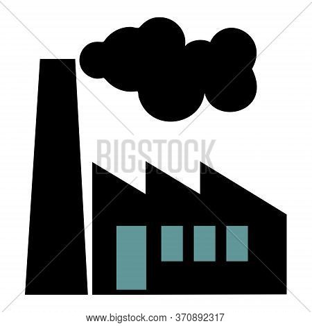 Old Factory Vector Silhouette On White Background