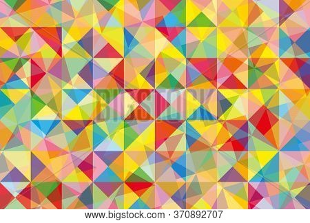Abstract Background. Young dark-haired woman in casual attire, standing with arms crossed, holding a mug of hot coffee. Abstract Background. Vector illustration.