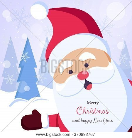 We Wish you a Merry Christmas. Happy new year. Santa Claus character with big signboard. Merry christmas greeting card vector background. Merry christmas and happy new year. Holiday greeting card with Christmas snow. Isolated vector illustration