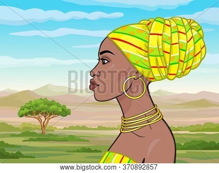 African Beauty: Animation Portrait Of The  Beautiful Black Woman In A Yellow Turban And Gold Jewelry