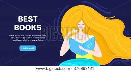 Vector Background With Redheaded Girl With Book And Cup Of Tea. Bookworm. Woman Sitting And Reading.