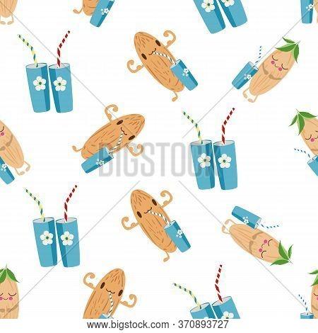 Kawaii Almond Milk Vector Seamless Pattern Background. Cute Muscle Flexing Nut Cartoon Characters, D