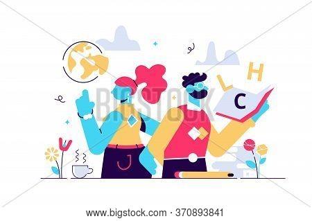 Teachers Day Vector Illustration. Flat Tiny World Educators Holiday Persons Concept. October Academi