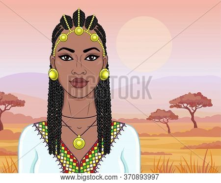 African Beauty: Animation Portrait Of The  Beautiful Black Woman In Afro-hair And Gold Jewelry. Colo
