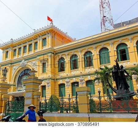 Ho Chi Minh City, Vietnam - March 28, 2019: Ho Chi Minh City Post Office, Or The Saigon Central Post