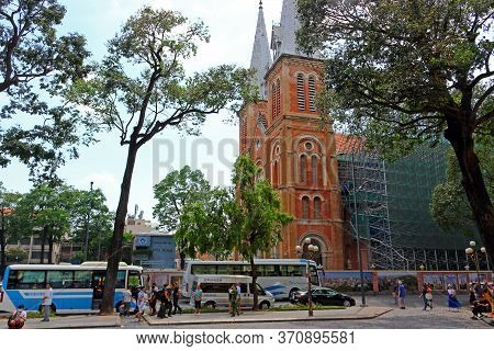 Ho Chi Minh City, Vietnam - March 28, 2019: Reconstruction Of The Notre-dame Cathedral Basilica Of S