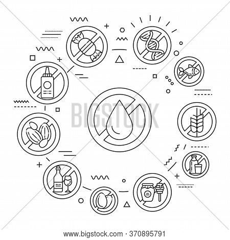 Allergy Food Web Banner. Allergenic Ingredients. Food Intolerance. Infographics With Linear Icons On