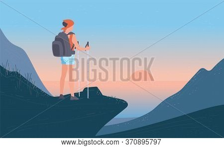 Woman With Backpack Standing His Back Of Top Mountain And Looking On Sea, Sunrise. Concept Of Hiking