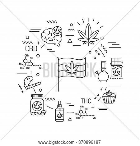 Cannabis Web Banner. Cbd, Thc Narcotic Substance. Alternative To Medicine Product. Infographics With