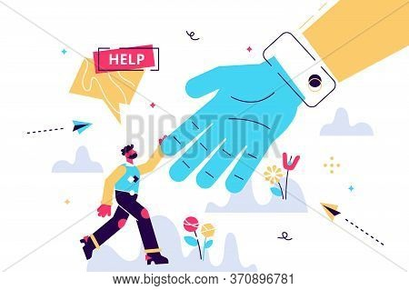 Help Vector Illustration. Flat Tiny Emergency Assistance Person Concept. Rescue Solution In Danger A