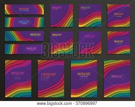 Set Of Creative Vertical Banners In Paper Cut Style. Abstract Colorful Carving Art With Paper Cut Sh