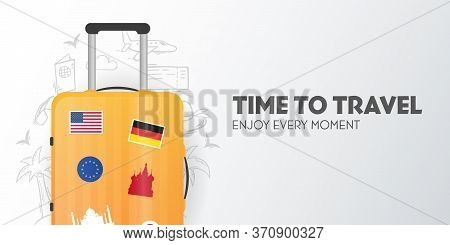 Time To Travel Banner With Travel Bag. Vacation. Road Trip. Tourism. Journey. Travelling Illustratio