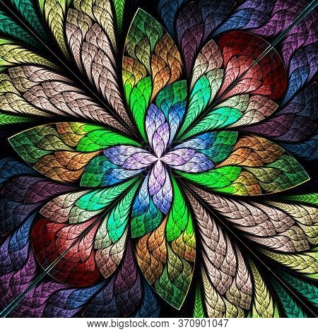Multicolored Fractal Flower Or Butterfly In Stained-glass Window Style. You Can Use It For Invitatio