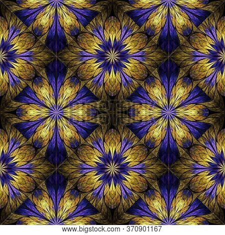 Beautiful Floral Pattern In Stained-glass Window Style. Purple, Gold. You Can Use It For Invitations