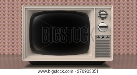 Retro Old Tv On Art Deco Vintage Wall Background. 3D Illustration