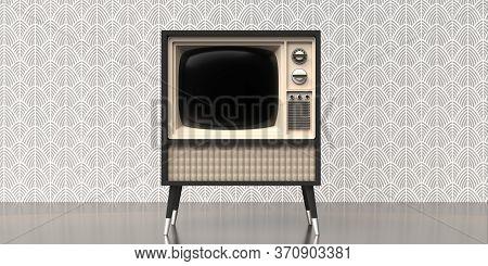Retro Old Tv On Art Deco Vintage Wall Background. 3D Illustration