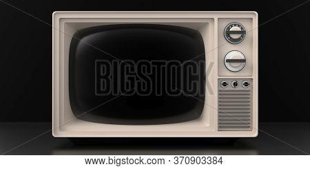 Retro Old Tv On Black Background. 3D Illustration