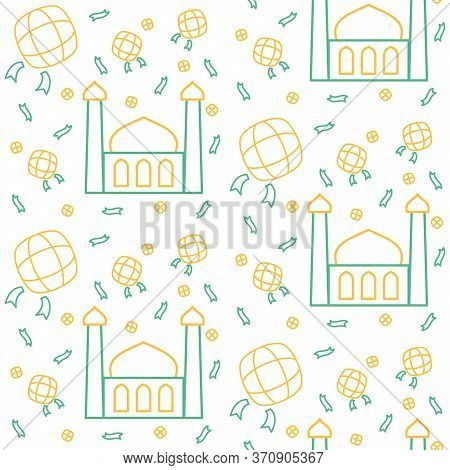 Mosque Icon Pattern Ketupat Rice Cake Ied Mubarak With Dual Tone Color Flat Style Design Vector.