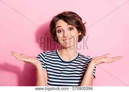 Closeup Photo Of Indifferent Lady Careless Facial Expression Raise Hands Shrug Shoulders Asking So W