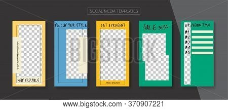 Social Stories Cool Vector Layout. Simple Sale, New Arrivals Story Layout. Blogger Trendy Design, So