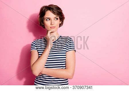 Portrait Of Minded Interested Girl Touch Chin Hand Look Copy Space Think Thoughts Try Decide Dilemma