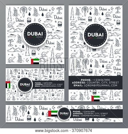 Set Of Travel Banners. Uae. Travel To Dubai. Hand Draw Doodle Background. Vector Illustration.