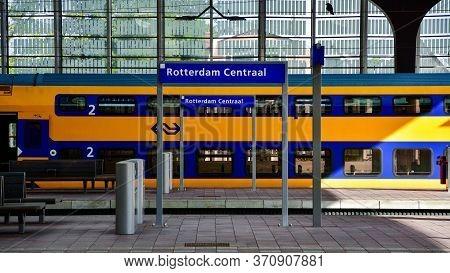 Rotterdam, Netherlands - September 2, 2019: Train At Rotterdam Central.