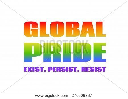 Global Pride Rainbow Color Text. Vector Banner For Lgbt Pride Month 2020