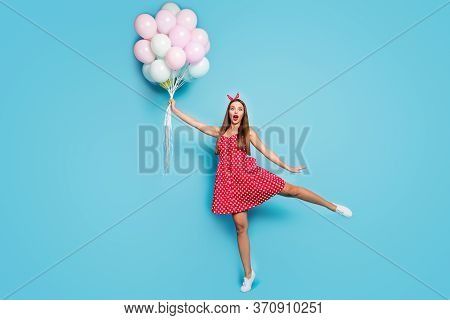 Full Length Body Size View Of Nice Attractive Lovable Girlish Funny Funky Comic Cheerful Straight-ha