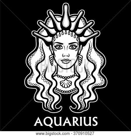 Zodiac Sign Aquarius. Fantastic Princess, Animation Portrait. Vector Monochrome Illustration Isolate