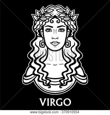 Zodiac Sign Virgo. Fantastic Princess, Animation Portrait. Vector Monochrome Illustration Isolated O