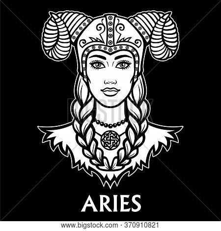 Zodiac Sign Aries. Fantastic Princess, Animation Portrait. Vector Monochrome Illustration Isolated O