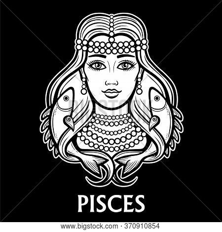 Zodiac Sign Pisces. Fantastic Princess, Animation Portrait. Vector Monochrome Illustration Isolated