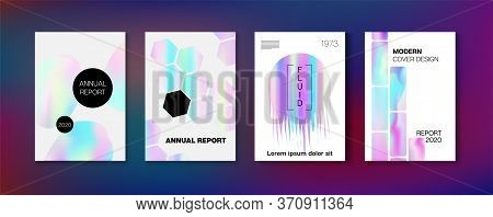 Holographic Gradient Vector Background. Rainbow Magazine Print Template. Hologram Business Soft Cove