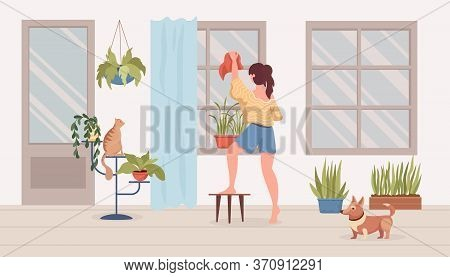 Young Woman In Comfortable Clothes Cleans Up Balcony Or Room Vector Flat Cartoon Illustration. Girl