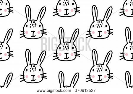 Hand Drawn Lines Cartoon Bunny. Doodle Seamless Pattern For Kids Isolated On White Background