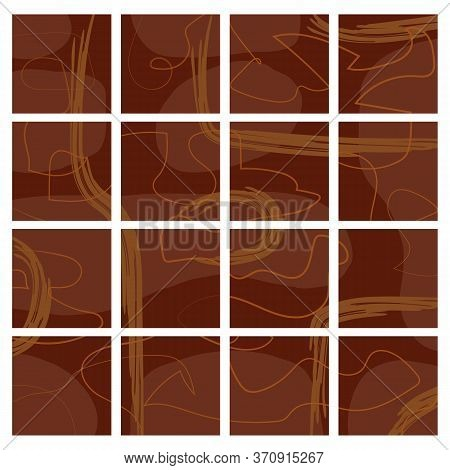 Set Of Their Dark Brown Isolated Backgrounds With Random Orange And Brown Smears. Quiet Unobtrusive