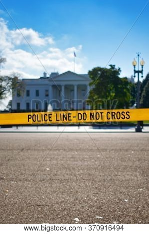 Yellow Police Line - Do Not Cross Barricade Tape In Front Of The White House. With Copyspace For Tex