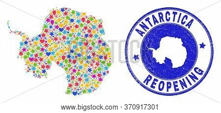 Celebrating Antarctica Continent Map Mosaic And Reopening Unclean Watermark. Vector Mosaic Antarctic
