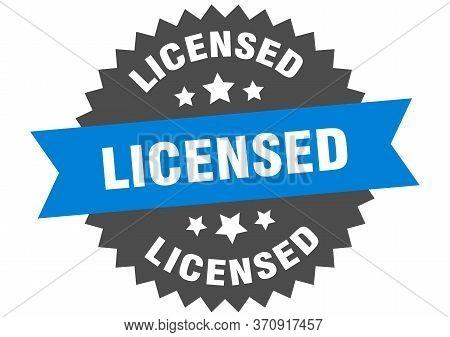 Licensed Sign. Licensed Blue-black Circular Band Label