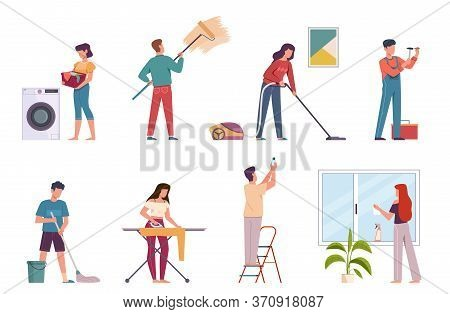 People Cleaning. Housework Cleaning Company Service, Men And Women Doing Chores. Ironing, Washing Fl