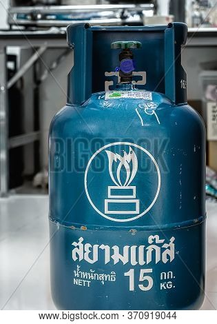 Bangkok, Thailand - June 11, 2020: Siam Gas Portable 15kg Lpg Tank Ready For Use In A Domestic Kitch